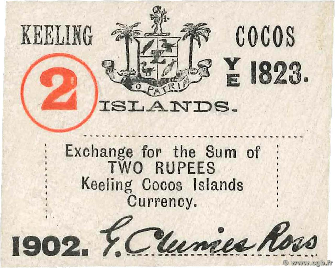 2 Rupees  ÎLES KEELING COCOS  1902 PS.127 NEUF
