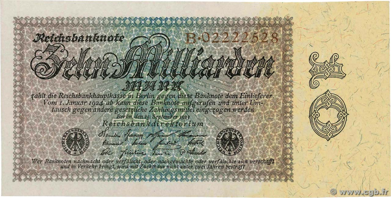 10 Milliards Mark ALLEMAGNE  1923 P.116a SPL