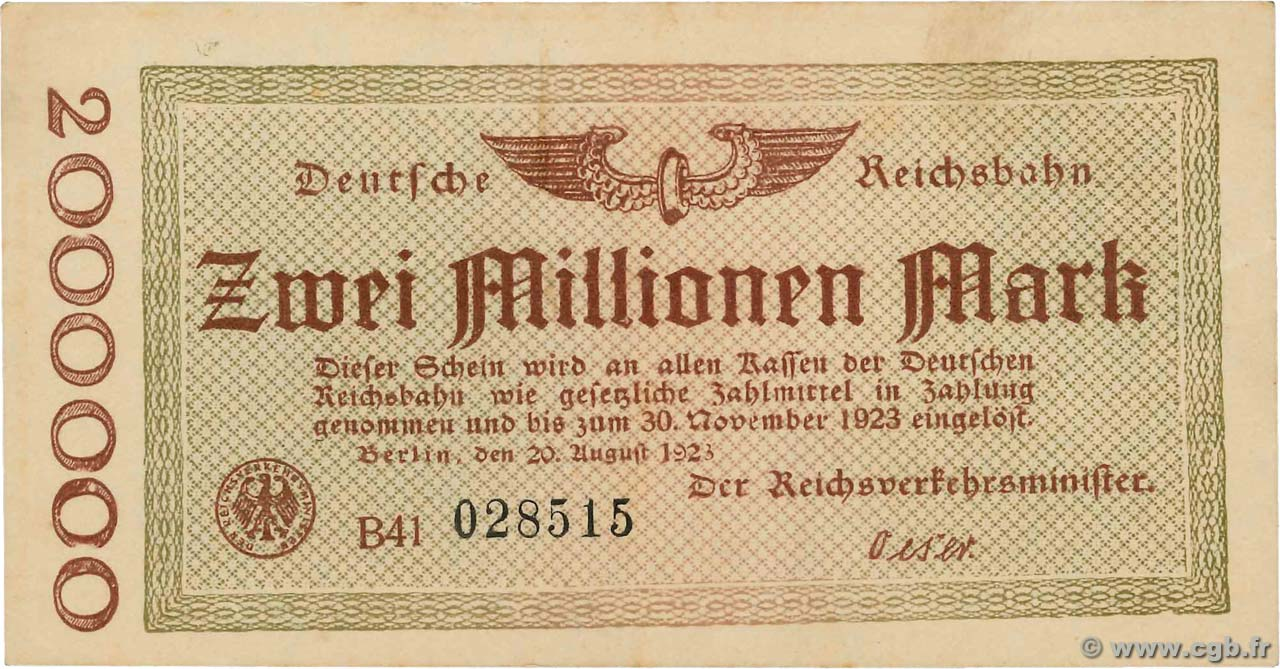 2 Millions Mark ALLEMAGNE  1923 PS.1012a SPL