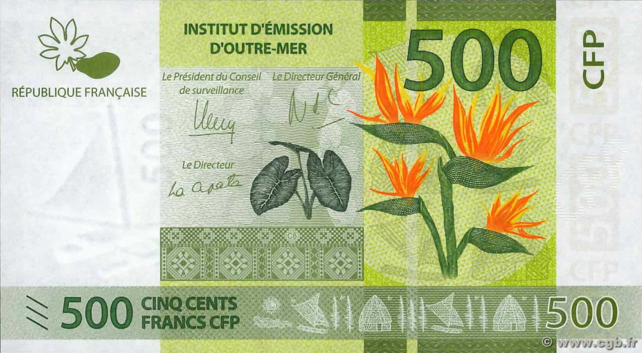 French Pacific Territories Unc 500 Francs ND 2014 P-5