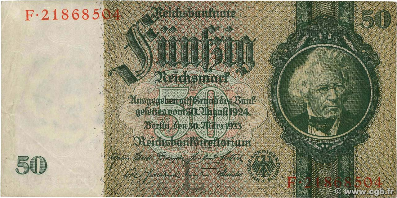 50 Reichsmark GERMANY  1933 P.182a XF