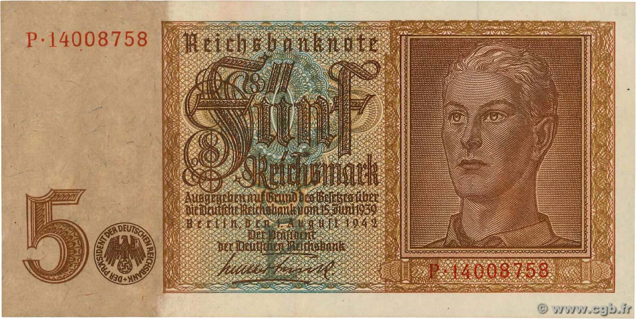 5 Reichsmark ALLEMAGNE  1942 P.186a SUP