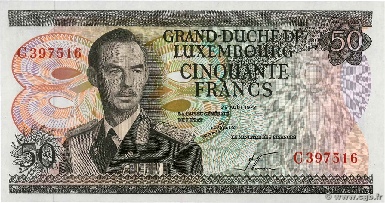 50 Francs LUXEMBOURG  1972 P.55a NEUF