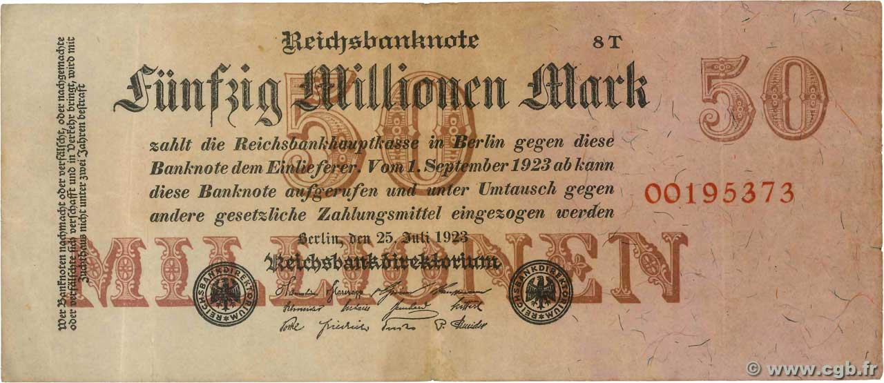 50 Millions Mark  ALLEMAGNE  1923 P.098b TB+