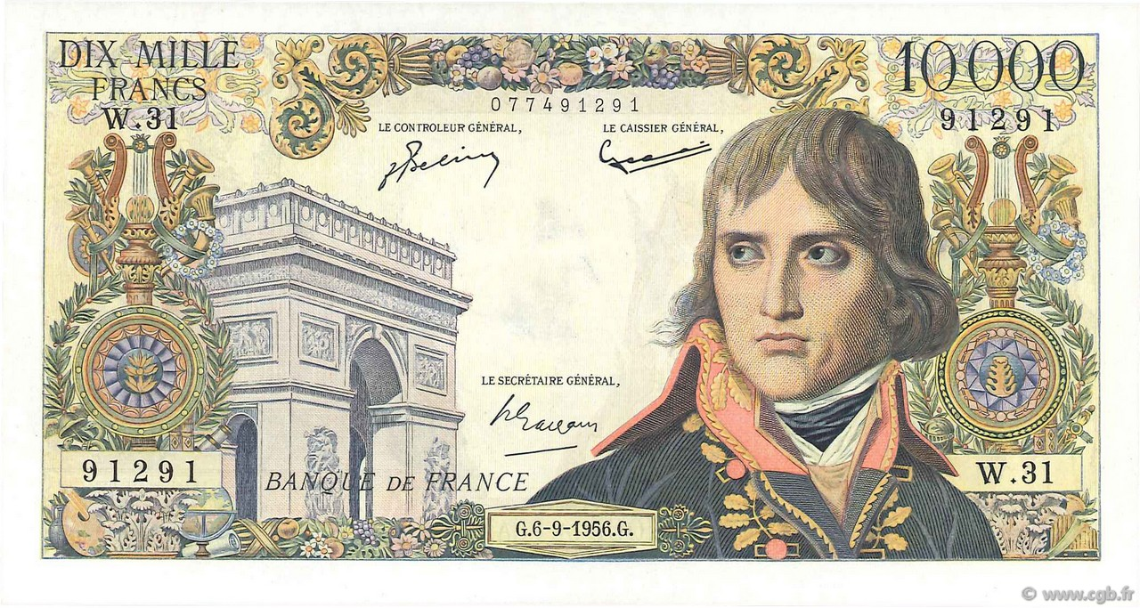 10000 Francs BONAPARTE FRANCE  1956 F.51.04 SUP à SPL