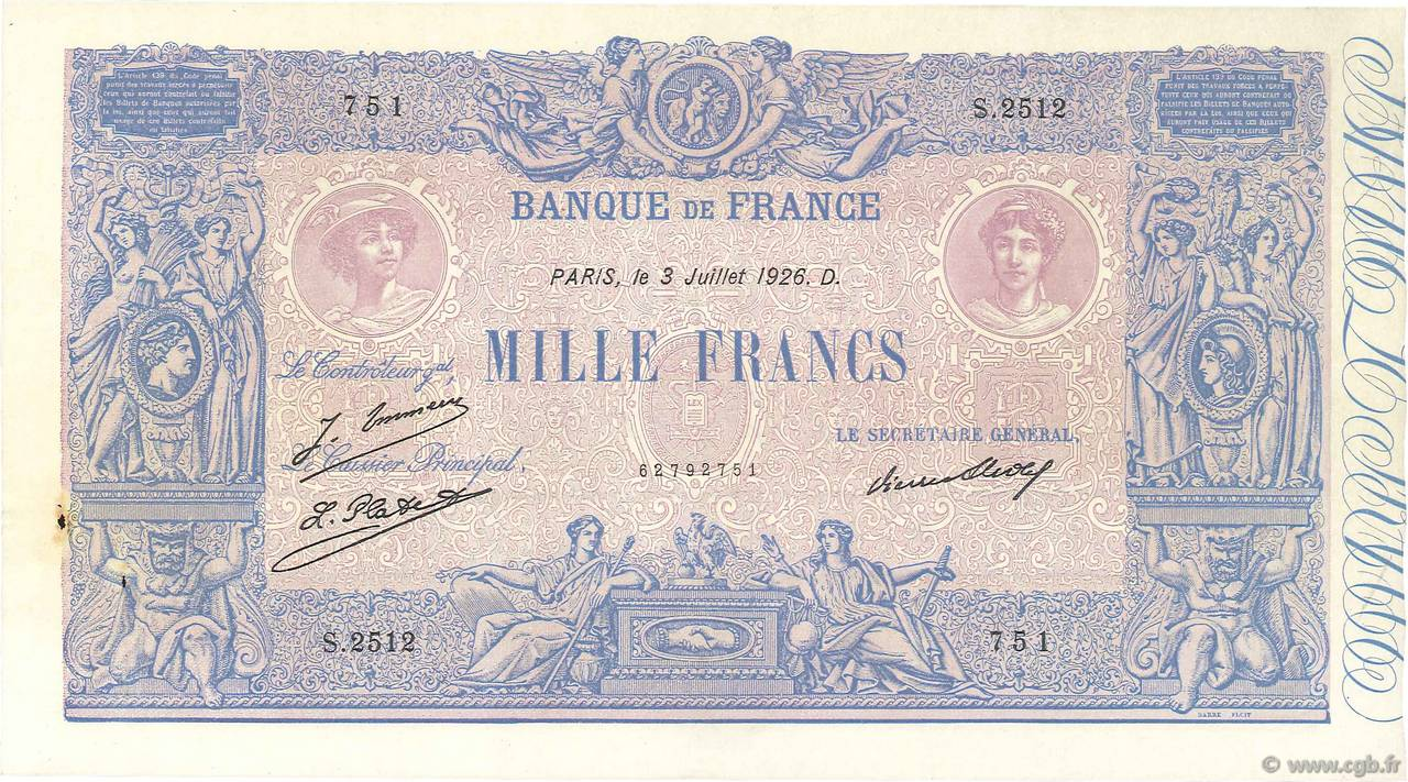 1000 Francs BLEU ET ROSE FRANCE  1926 F.36.43 SUP+