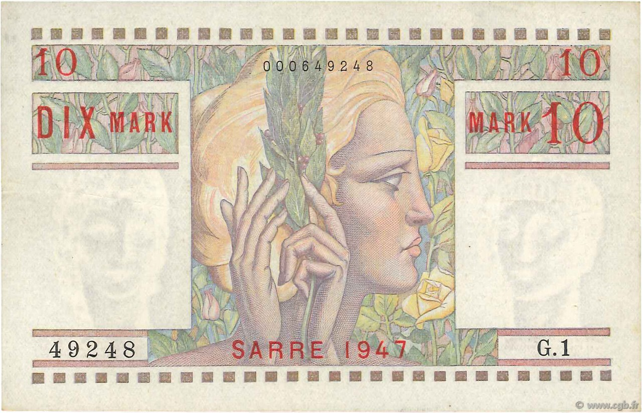 10 Mark SARRE FRANCE  1947 VF.47.01 TTB+