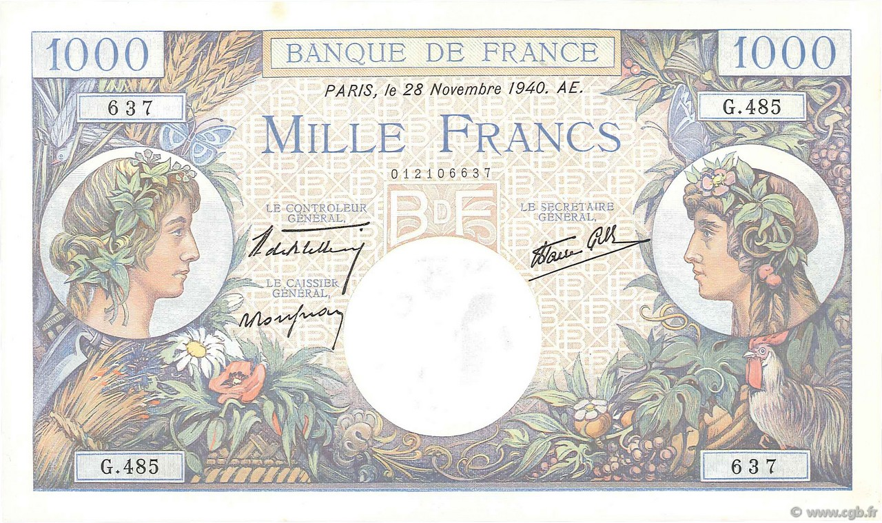 1000 Francs COMMERCE ET INDUSTRIE FRANCE  1940 F.39.02 pr.NEUF