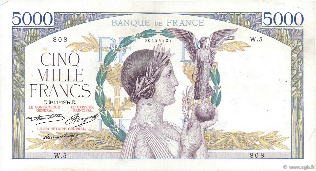 5000 Francs VICTOIRE Taille Douce FRANCE  1934 F.44.01 TB+