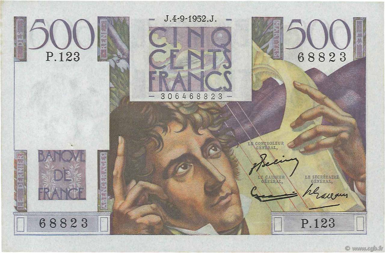500 Francs CHATEAUBRIAND FRANCE  1952 F.34.10 SPL