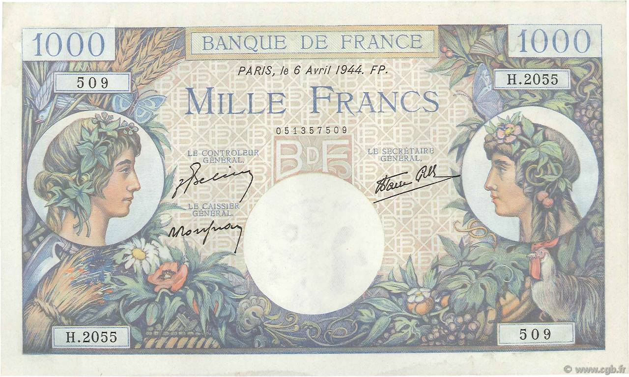1000 Francs COMMERCE ET INDUSTRIE FRANCE  1944 F.39.05 SUP+