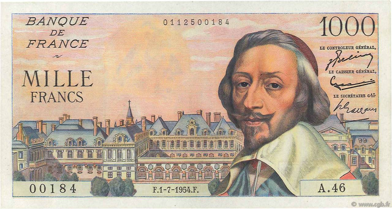 1000 Francs RICHELIEU FRANCE  1954 F.42.06 SUP+