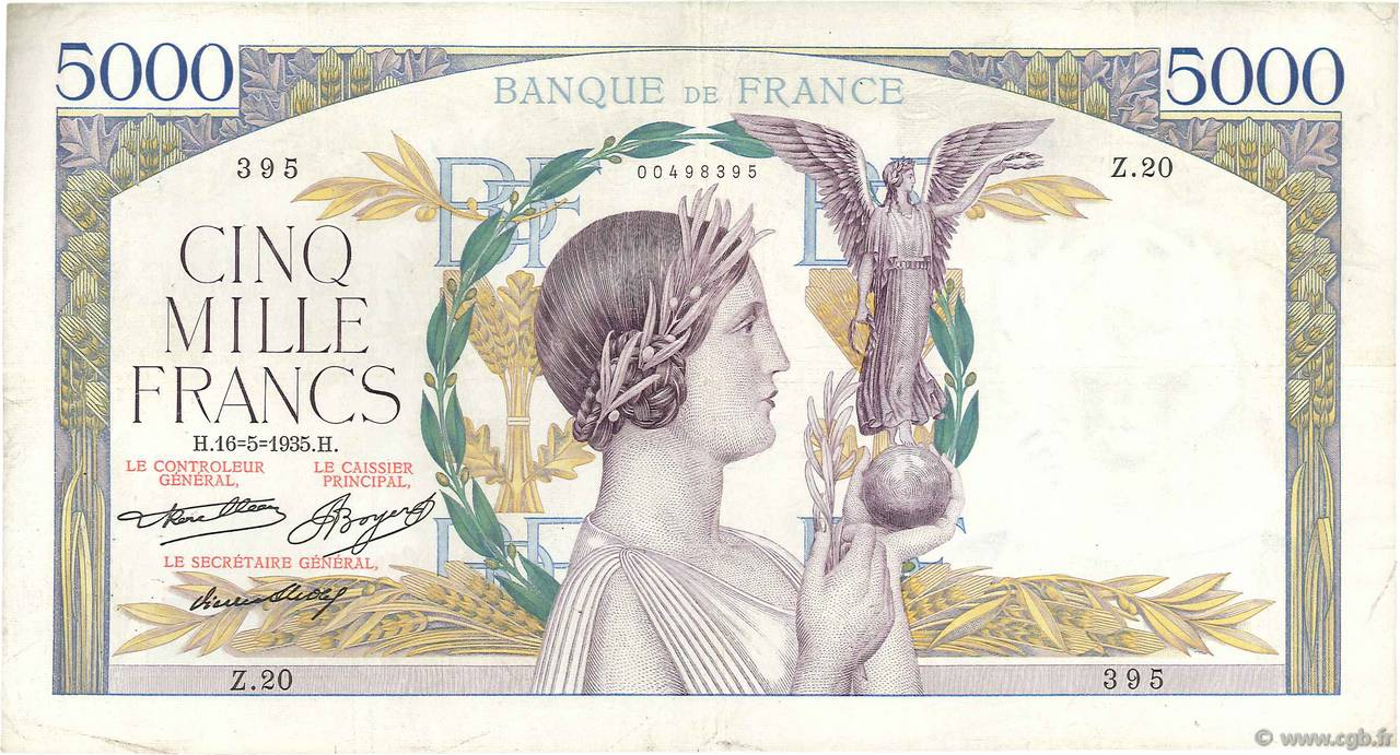 5000 Francs VICTOIRE FRANCE  1935 F.44.02 TB+