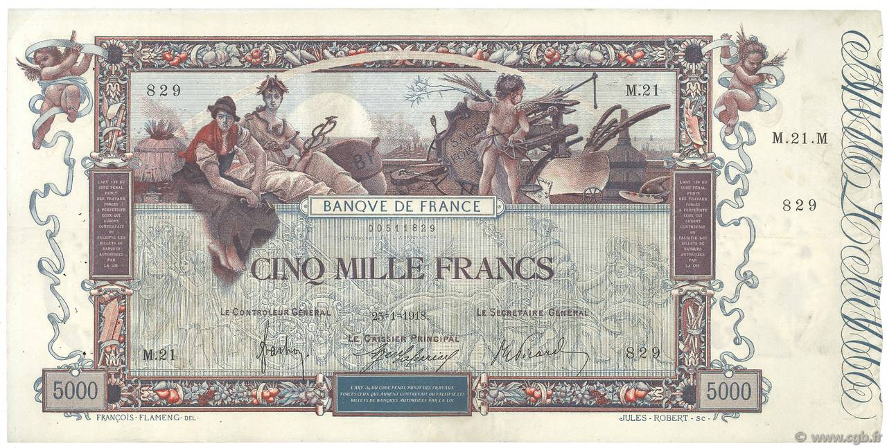 5000 Francs FLAMENG  FRANCE  1918 F.43.01 TTB