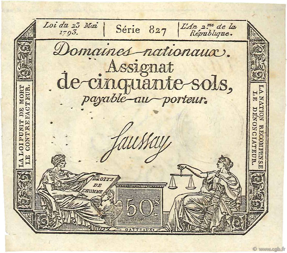 50 Sols vérificateur FRANCE  1793 Ass.42f SUP+