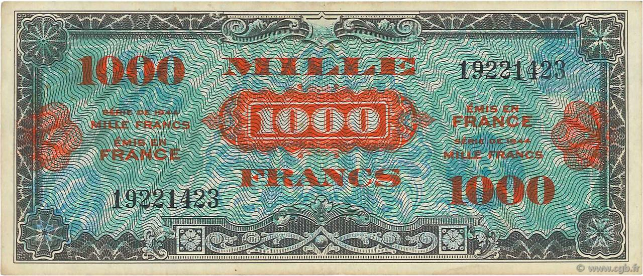 1000 Francs DRAPEAU FRANCE  1944 VF.22.01 TTB