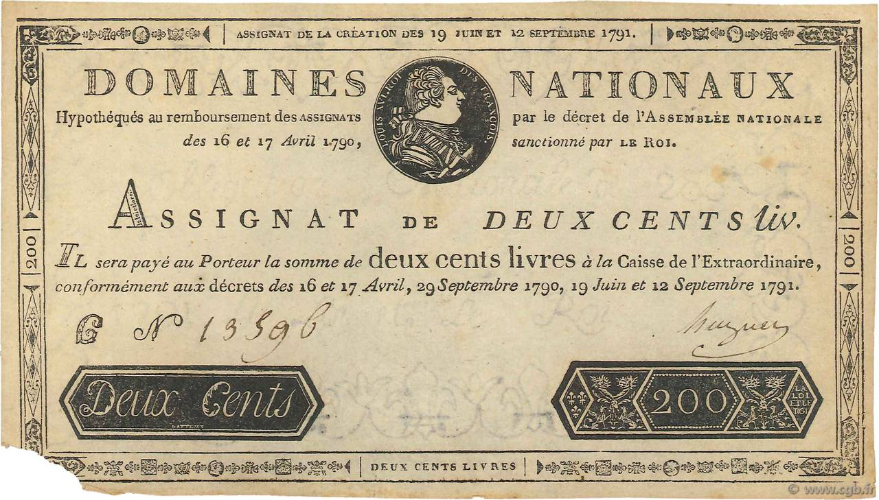 200 Livres FRANCE  1791 Ass.17a TTB