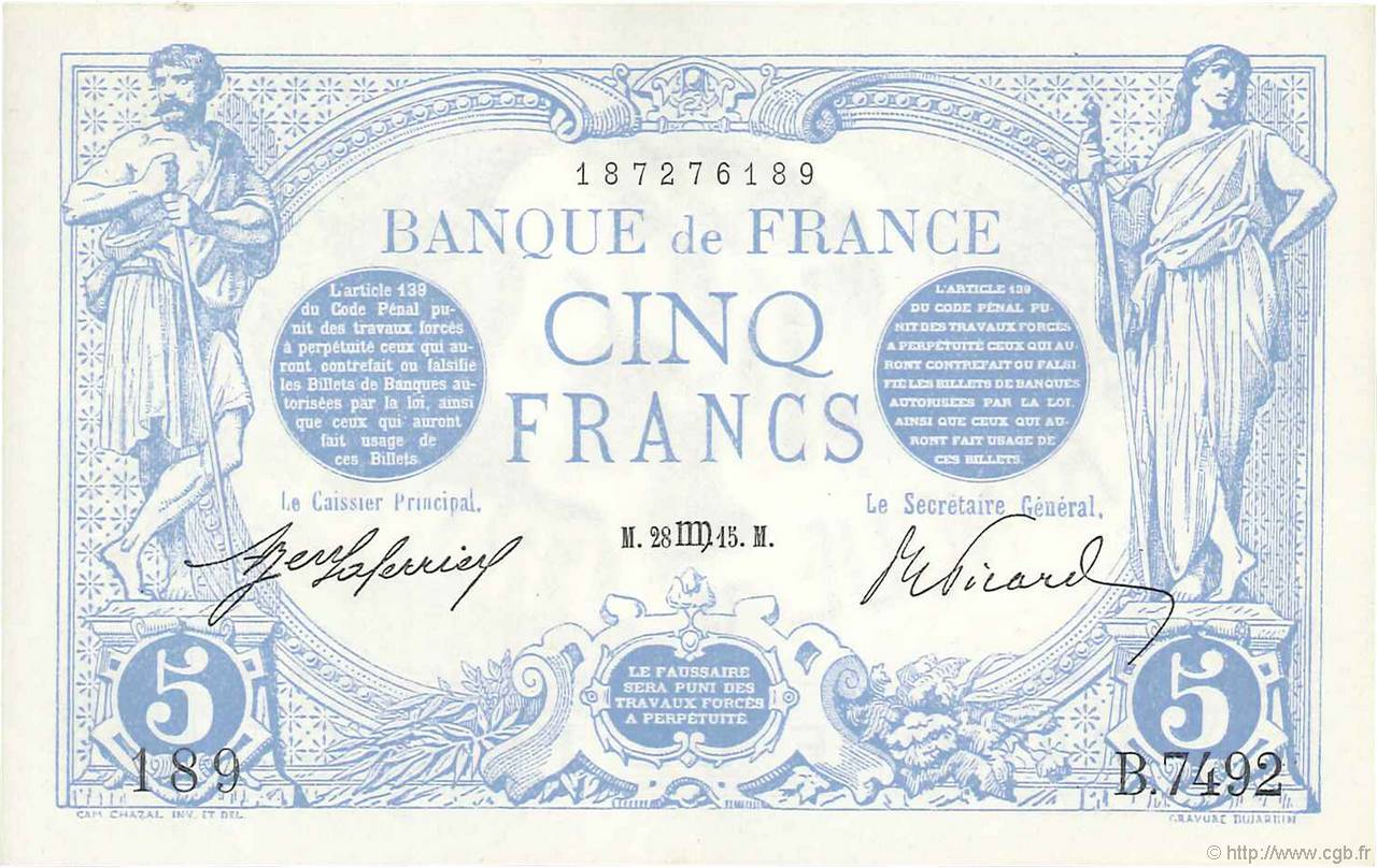 5 Francs BLEU FRANCE  1915 F.02.30 SUP+