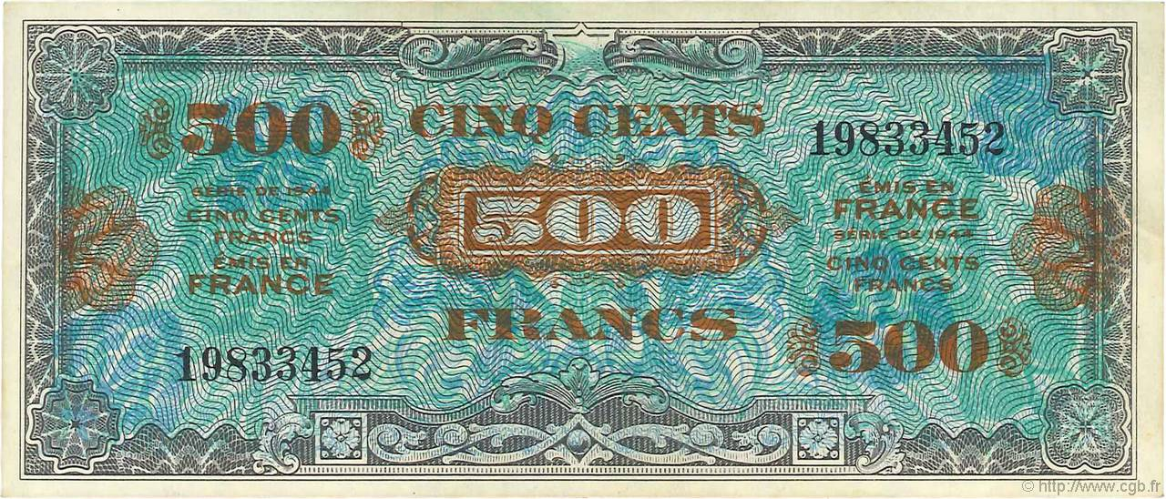 500 Francs DRAPEAU FRANCE  1944 VF.21.01 SUP+