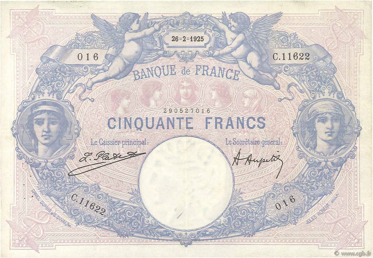 50 Francs BLEU ET ROSE FRANCE  1925 F.14.38 TTB