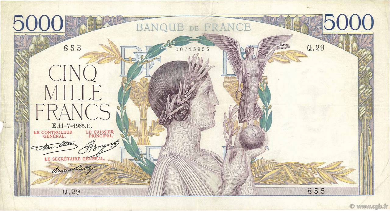 5000 Francs VICTOIRE Taille Douce FRANCE  1935 F.44.03 TB+