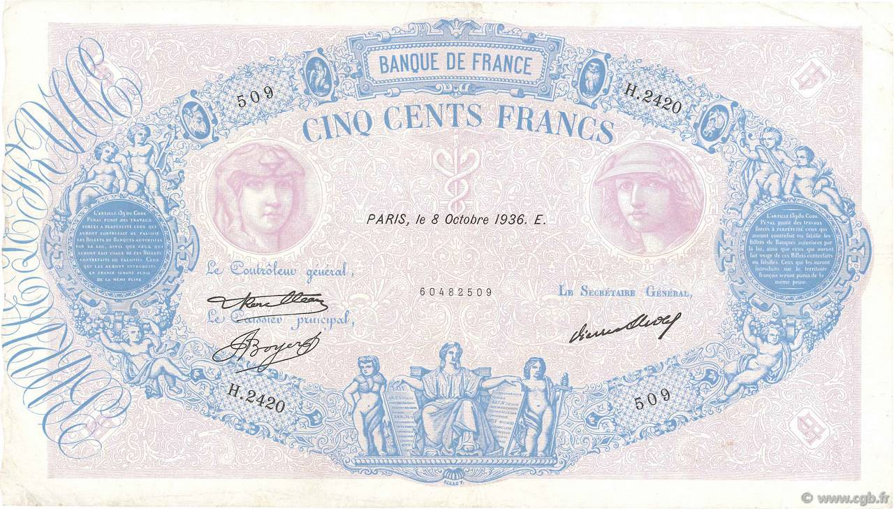 500 Francs BLEU ET ROSE FRANCE  1936 F.30.37 TTB