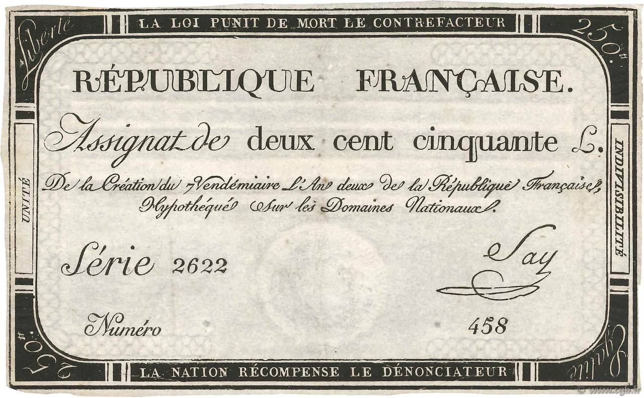 250 Livres FRANCE  1793 Ass.45a TTB+