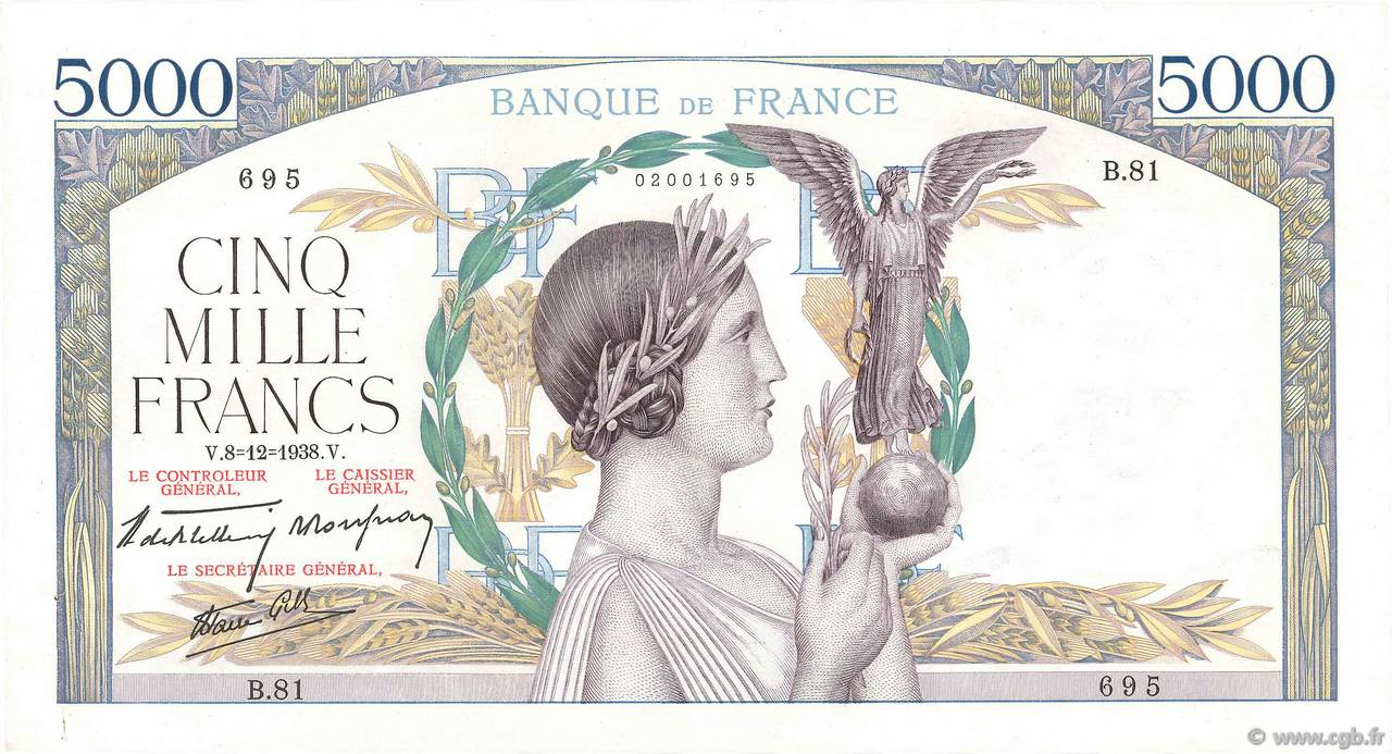 5000 Francs VICTOIRE Impression à plat FRANCE  1938 F.46.01 SUP+