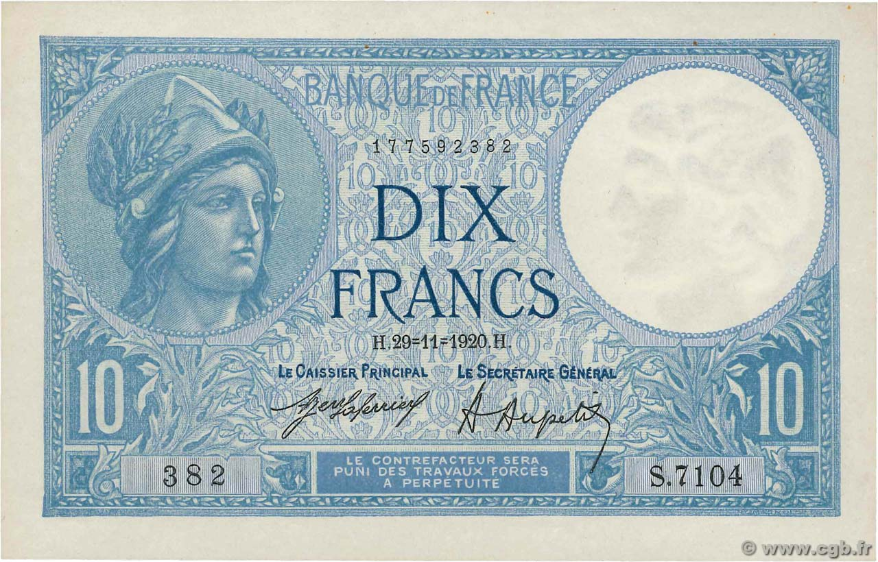 10 Francs MINERVE  FRANCE  1920 F.06.04 SUP