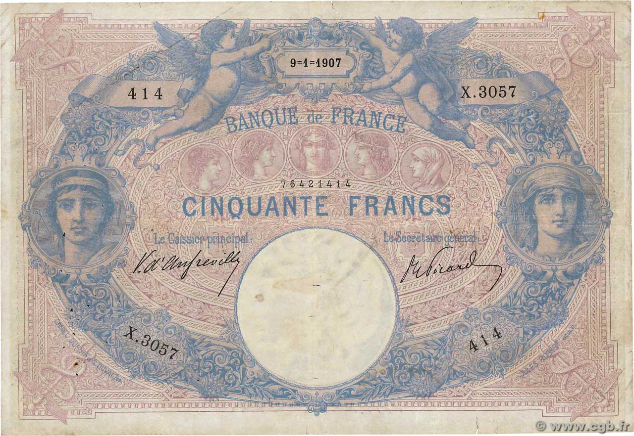 50 Francs BLEU ET ROSE  FRANCE  1907 F.14.19 TB