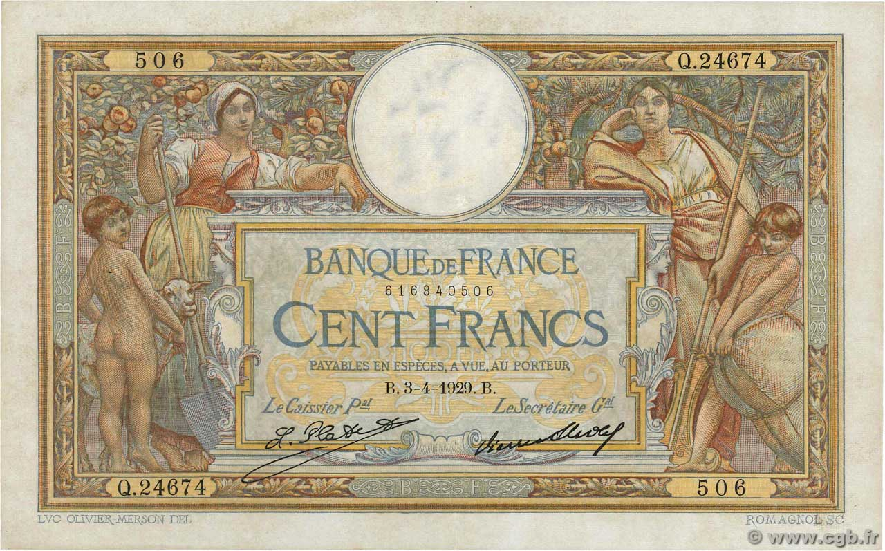100 Francs LUC OLIVIER MERSON grands cartouches  FRANCE  1929 F.24.08 SUP