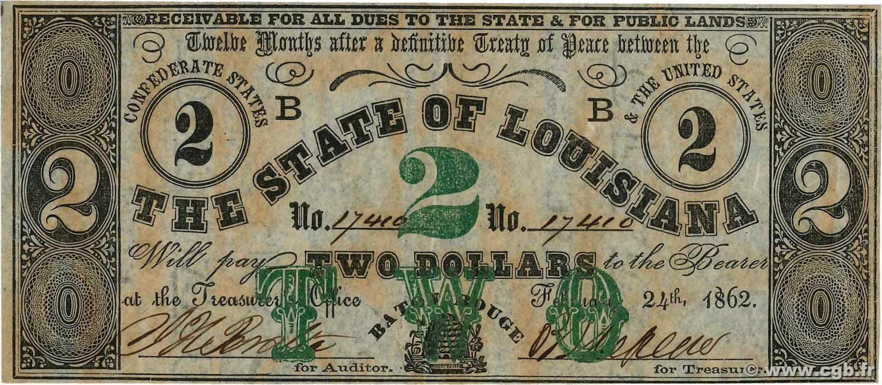 2 Dollars  UNITED STATES OF AMERICA Baton Rouge 1862 PS.0892 AU