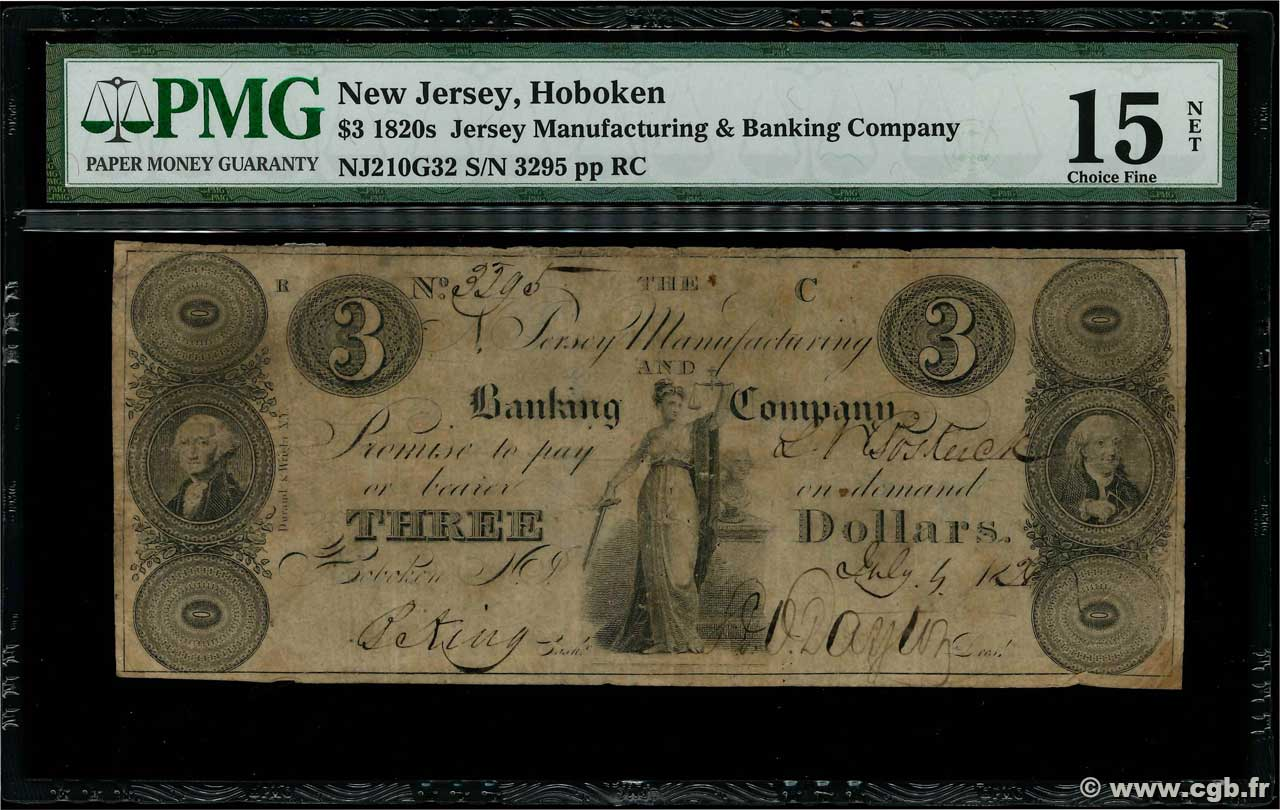 3 Dollars  UNITED STATES OF AMERICA Hoboken 1837  F