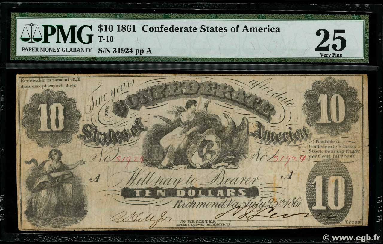 10 Dollars CONFEDERATE STATES OF AMERICA  1861 P.09 F