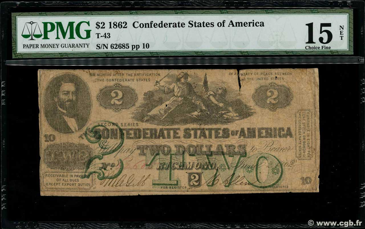 2 Dollars CONFEDERATE STATES OF AMERICA  1862 P.42 G