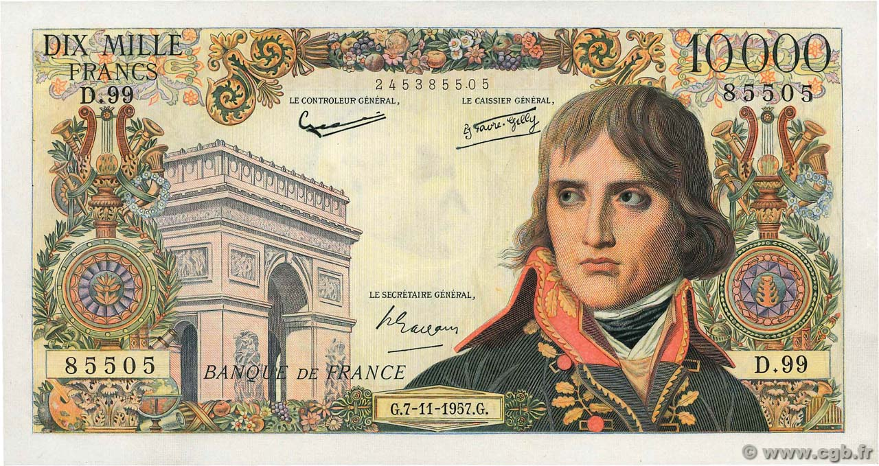 10000 Francs BONAPARTE  FRANCE  1957 F.51.10 SUP+