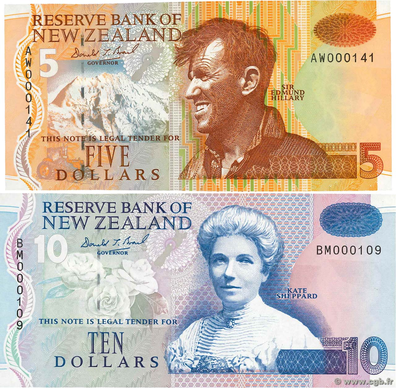 5 et 10 Dollars  NEW ZEALAND  1992 P.177 et P.182a UNC