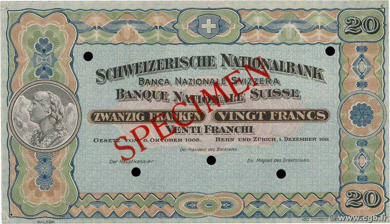20 Francs Spécimen SWITZERLAND  1911 P.12s XF