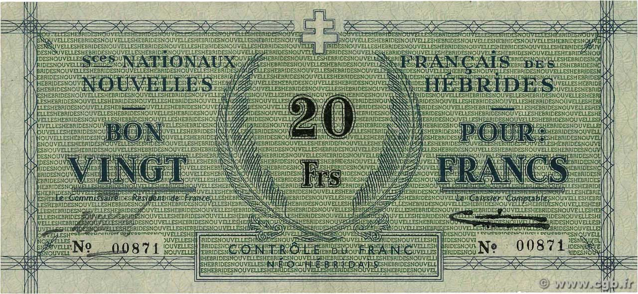 20 Francs NEW HEBRIDES  1943 P.02 VF