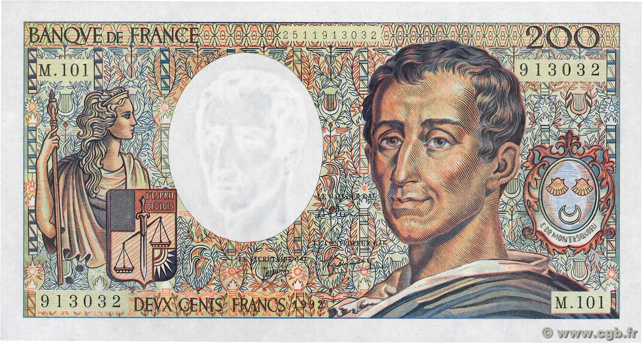 200 Francs MONTESQUIEU alphabet 101 FRANCE  1992 F.70bis.01 NEUF