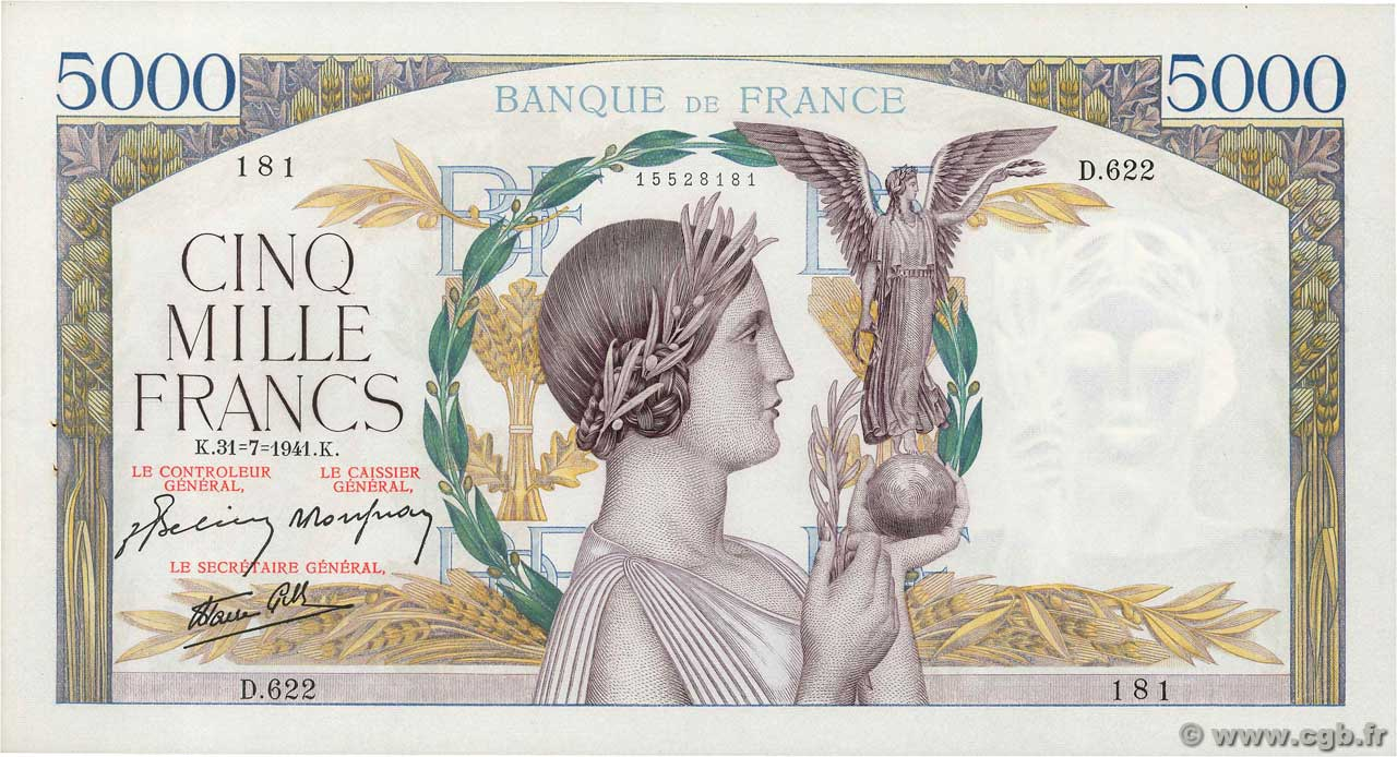 5000 Francs VICTOIRE Impression à plat FRANCE  1941 F.46.24 SUP+