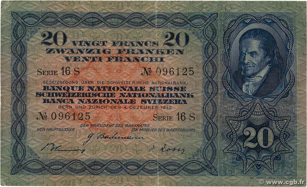 20 Francs  SWITZERLAND  1938 P.39l VF