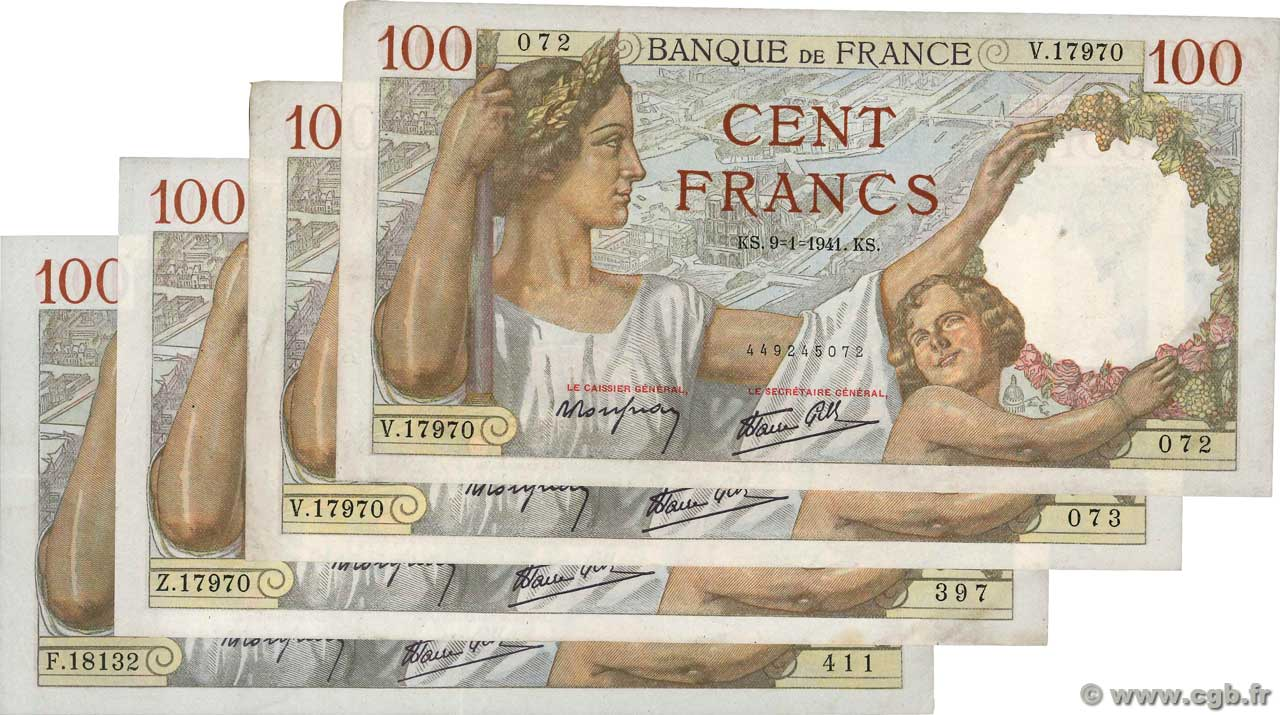 100 Francs SULLY Lot FRANCE  1941 F.26.lot SUP+