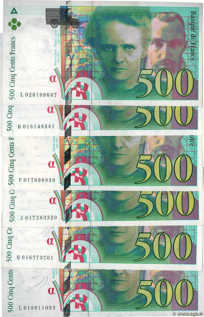 500 Francs PIERRE ET MARIE CURIE Lot FRANCE  1994 F.76.01 SUP+