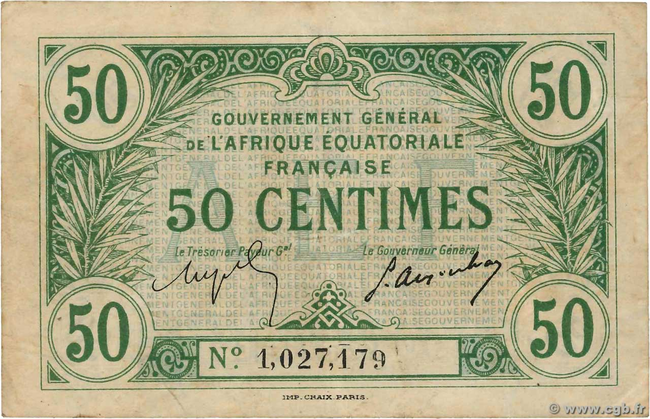 50 Centimes  FRENCH EQUATORIAL AFRICA  1917 P.01b VF