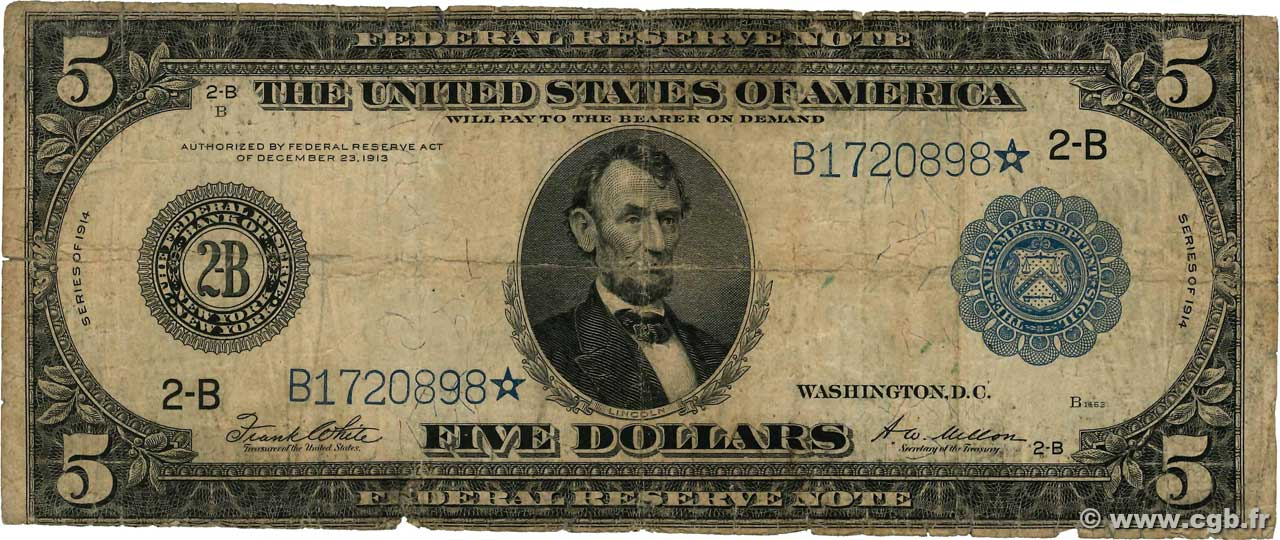 5 Dollars  UNITED STATES OF AMERICA New York 1914 P.359b G