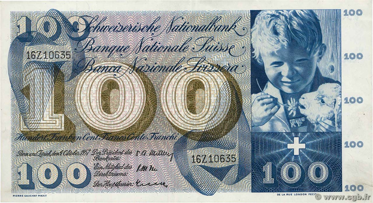 100 Francs  SWITZERLAND  1957 P.49b XF