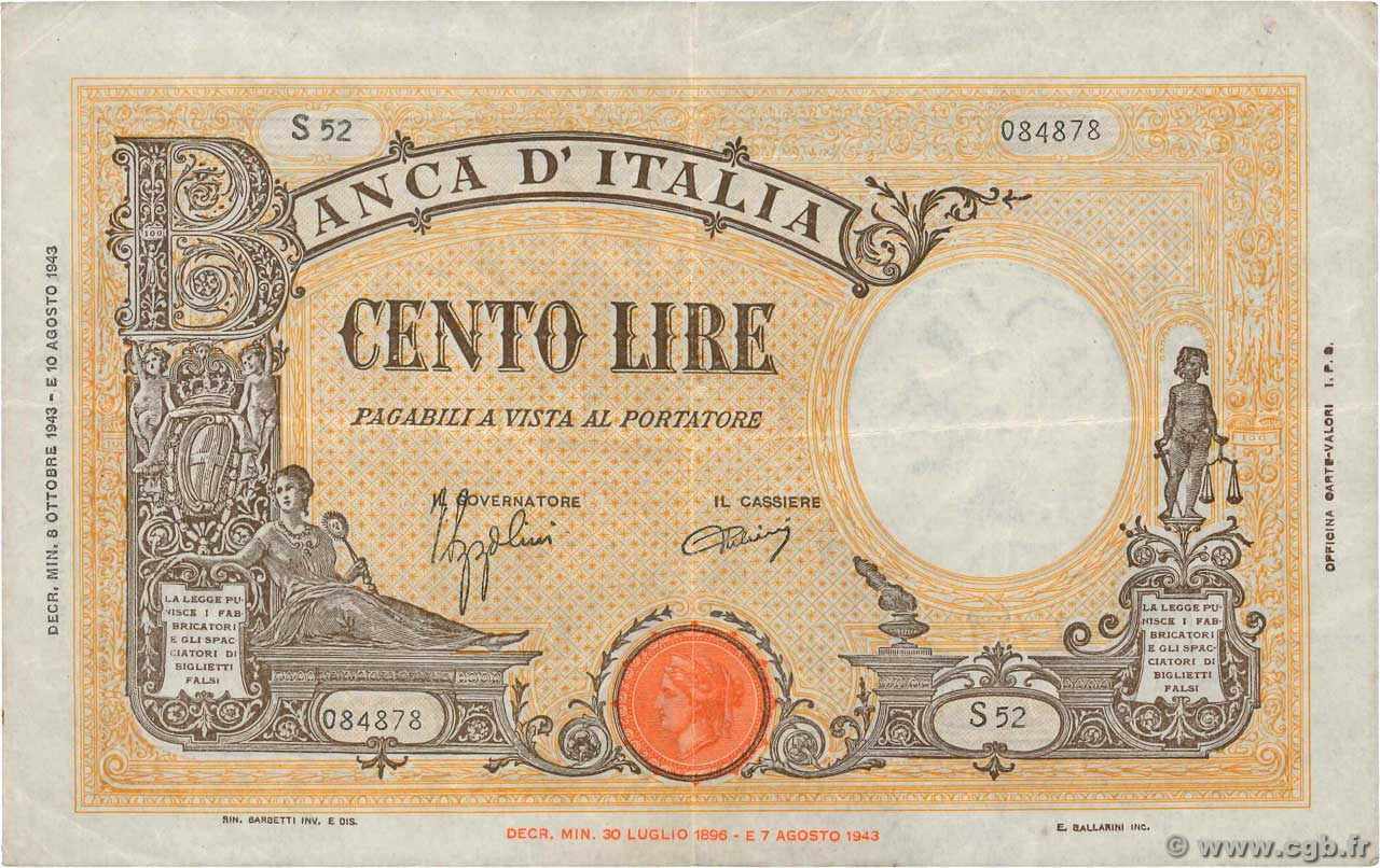Italy 1943 Allied Military Currency 100 Lire Pick-M15b GEM UNC PMG 66 EPQ