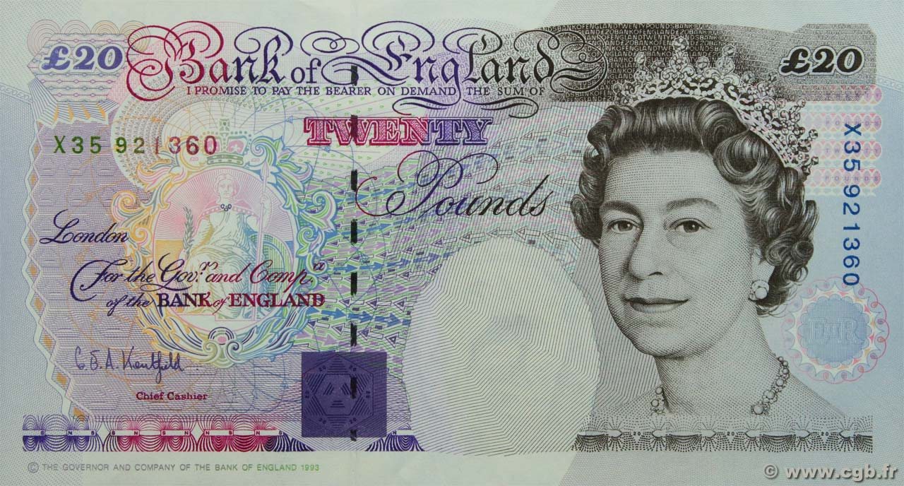 20 Pounds ENGLAND  1993 P.387a AU+