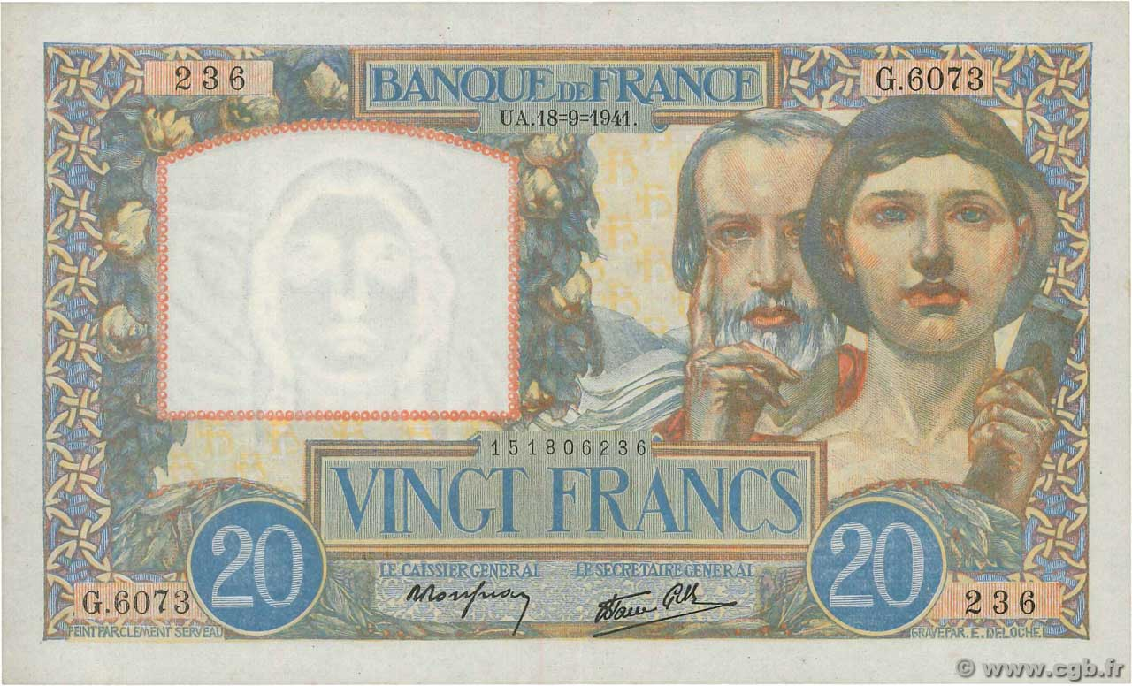 20 Francs TRAVAIL ET SCIENCE  FRANCE  1941 F.12.18 XF+
